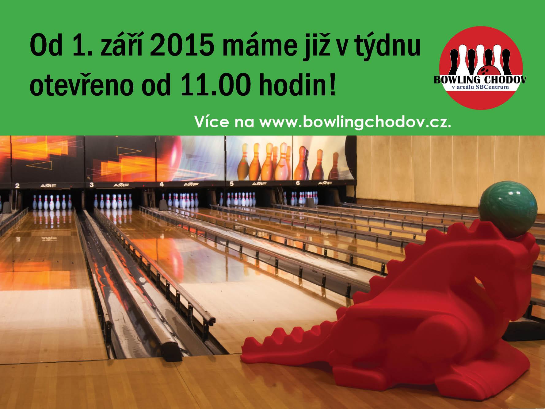 Od 1. 9. 2015 bude pro Vás restaurace a bowling otevřen již od 11.00.